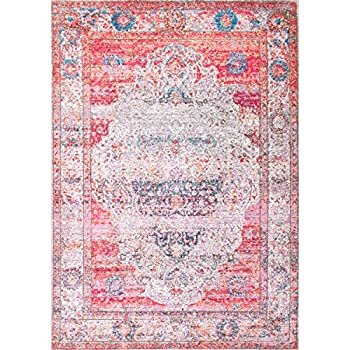 "Vintage Antique Brick Medallion Blush Area Rugs, 5 Feet 3 Inches by 7 Feet 7 Inches (5' 3"" x 7' 7"")"