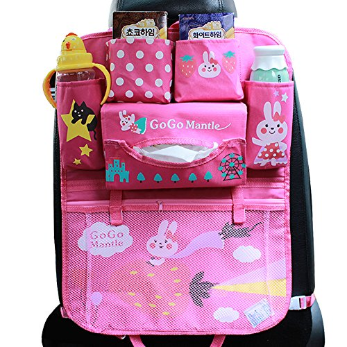 Sale!! Car Backseat Organizer Kick Mats - Auto Seat Back Protector Kids Toy Storage Pink