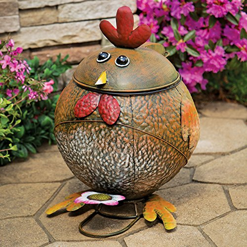 Bits and Pieces - Rooster Trash Can - Keeping Painted Functional Metal Sculpture - Waste Basket - Great Decorative Accent