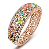 Multicolor Austrian Crystals Cuff Bracelet Rose Gold Plated Filigree Bangle Women Vintage Statement Jewelry