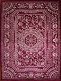New City Purple Plum Traditional French Floral Wool Persian Area Rugs 5'2 x 7'3