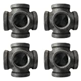 IBEUTES 4pcs Black Malleable Iron Cast Pipe Fitting 1/2