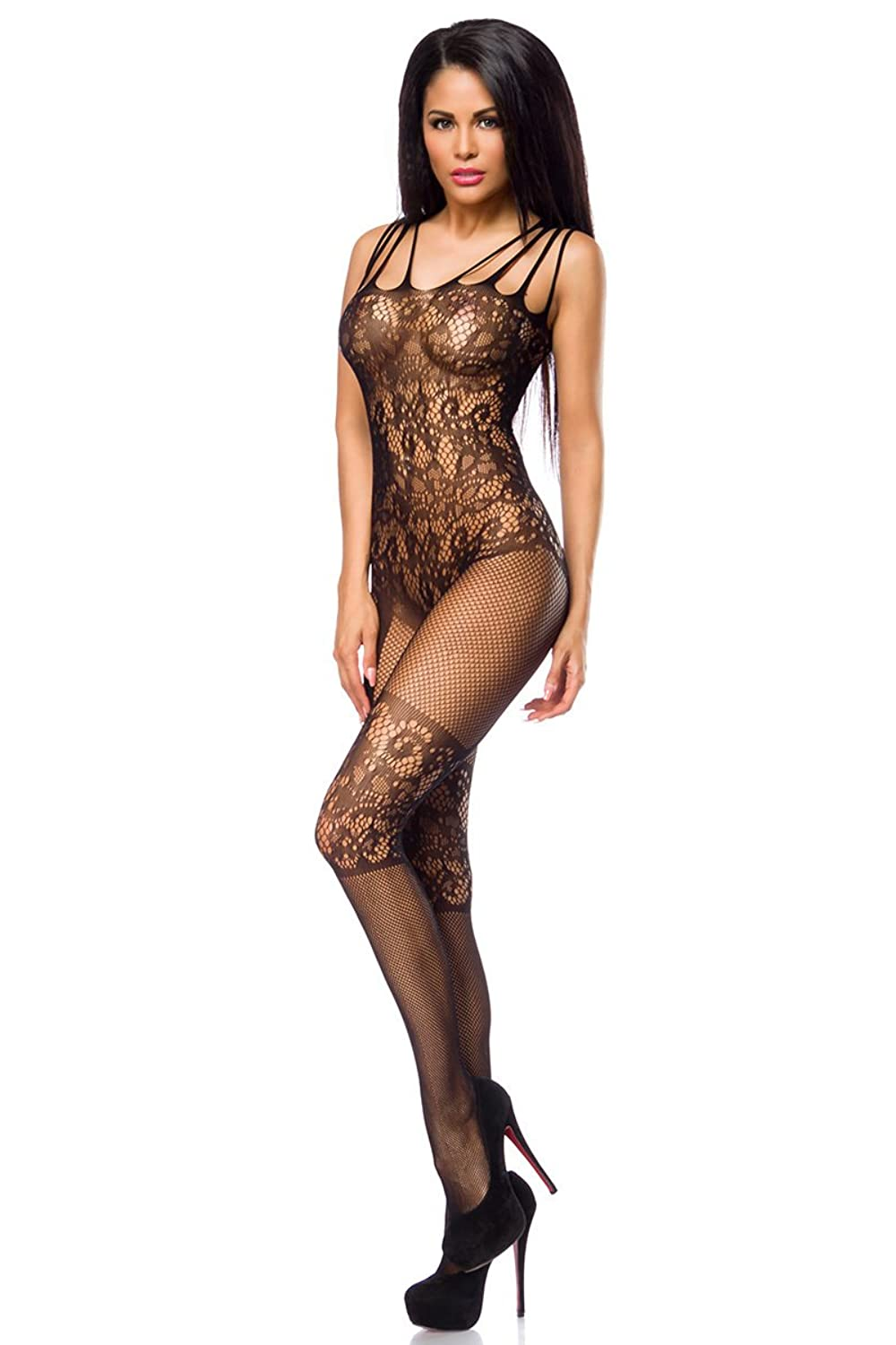 Bodystocking partiell mit floralem Muster