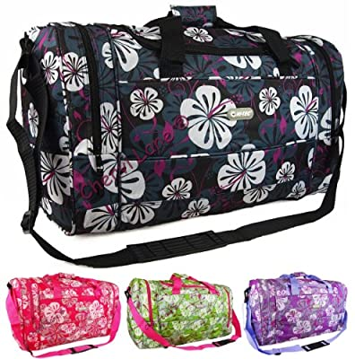 "18"" 22"" Floral Hi-Tec Gym Hand Luggage Travel Maternity Holdall Flight Cabin Bag (Black/Green/Pink/Purple) (22"", Black)"