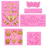 BAKHUK 6pcs Baroque Style Fondant Candy Mold, for Dessert Crafts, Cake Border Decoration, Cupcake Decoration, Jewelry, Polymer Clay (Color: Pink)
