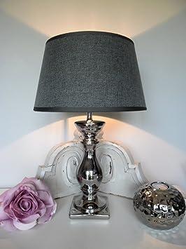 ᓚ Tischleuchte Tischlampe Tisch Lampe Leuchte Schirm grau