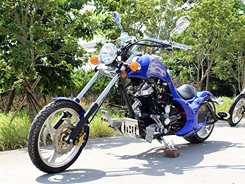DFMOTO 250 Motorcycle Type RTF Chopper Manual Fat Rear Tire Blue (Choppers Bikes compare prices)