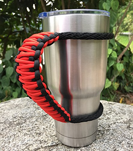 Handle for Yeti/Rtic/Ozark Trail Rambler 30 Oz Tumbler, Handmade Paracord Handles Fits Sic Cup and Many Brand Tumblers (Red/Black, 30oz)