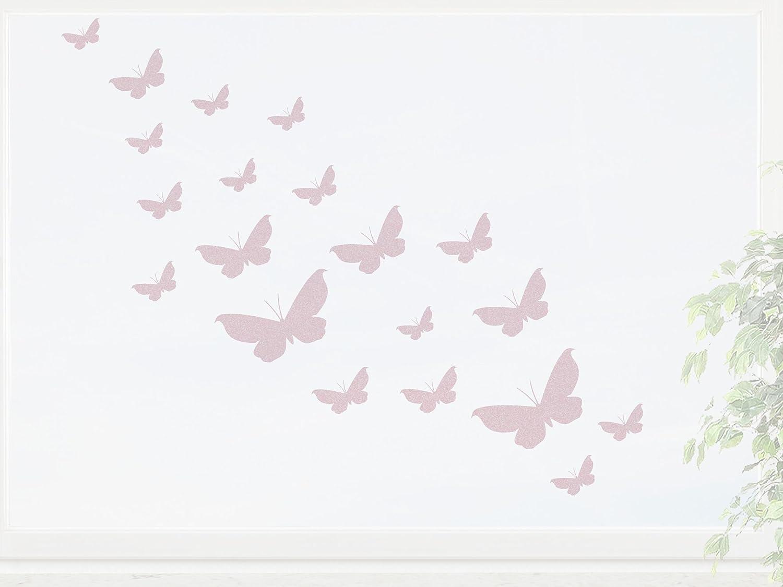 wandfabrik – Fenstersticker 20 Schmetterlinge Set 1 – rosé – 758 – (Xt) günstig