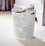 Papierkorb aus Kunstrattan, mit Griffen, creme, Ø 28,5cm x 32,5cm H, 13Liter