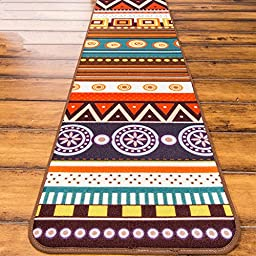 LELVA Bohemian Style Ethnic Customs Bedroom Antiskid Mats, Boho Colourful Kitchen Living Room Rug Floor Mats Floor Mats (40cm x 120cm)
