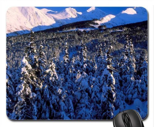 great evergreen forest on a mountain slope Mouse Pad, Mousepad (Forests Mouse Pad)