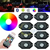 Wiipro RGB LED Rock Light Kits Cellphone APP Bluetooth Control with 8 pods Lights for JEEP Off Road Truck Car ATV SUV Vehicle Boat Interior with Timing & Music Mode