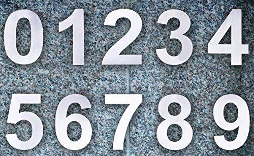 Qt Modern House Number 6 Inch Brushed Stainless Steel