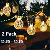 Solar Globe String Lights 30 LED 19.8ft Outdoor Crystal Ball Christmas Decoration Light Waterproof Solar Patio Lights Decorative for Xmas Tree Garden Home Lawn Wedding Party Holiday (2PACK-Warm White) (Color: 2PACK-Crystal Ball-Warm White)