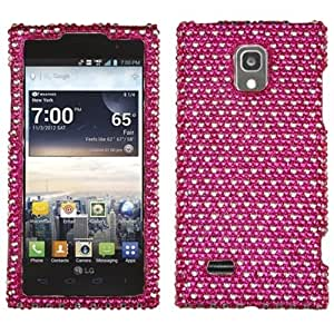 Asmyna LGVS930HPCDM383NP Luxurious Dazzling Diamante Case for LG Spectrum 2 VS930 - 1 Pack - Retail Packaging - Hot Pink/White Dots