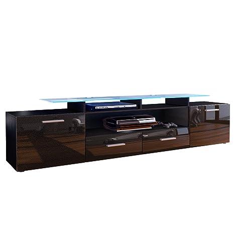 Meuble TV bas Almada V2, Corps en Noir mat / Façades en Noir métallique haute brillance