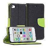 GMYLE(R) 財布ケース クラシック iPod touch 第5世代専用 - ブラック&グリーン PUレザースタンド手帳型ケースカバー