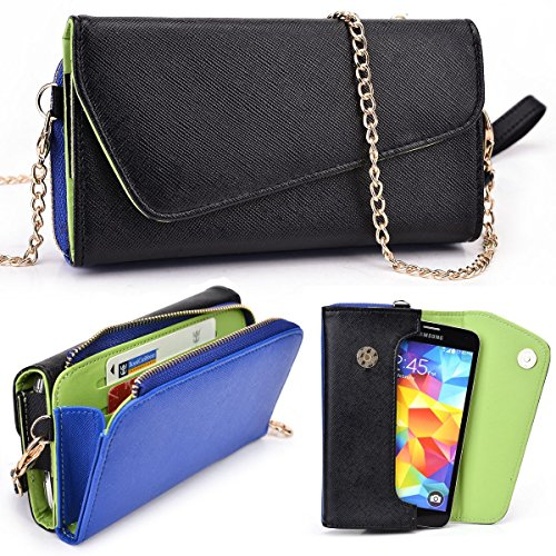 Black and Royal Blue Samsung Galaxy S5, S5 Mini, S5 Plus Octa-Core, S4 Mini, S3 S2 A3 A5 E5 Case | Wallet with Shoulder Strap - Lovely Color Schemes (Samsung Galaxy S5 Mini Octa Core compare prices)