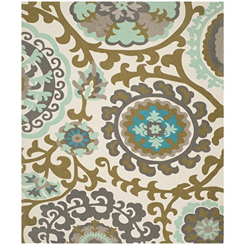 Safavieh Cedar Brook Collection CDR132G Handmade Turquoise Cotton Area Rug, 7 feet 3 inches by 9 feet 3 inches (7'3