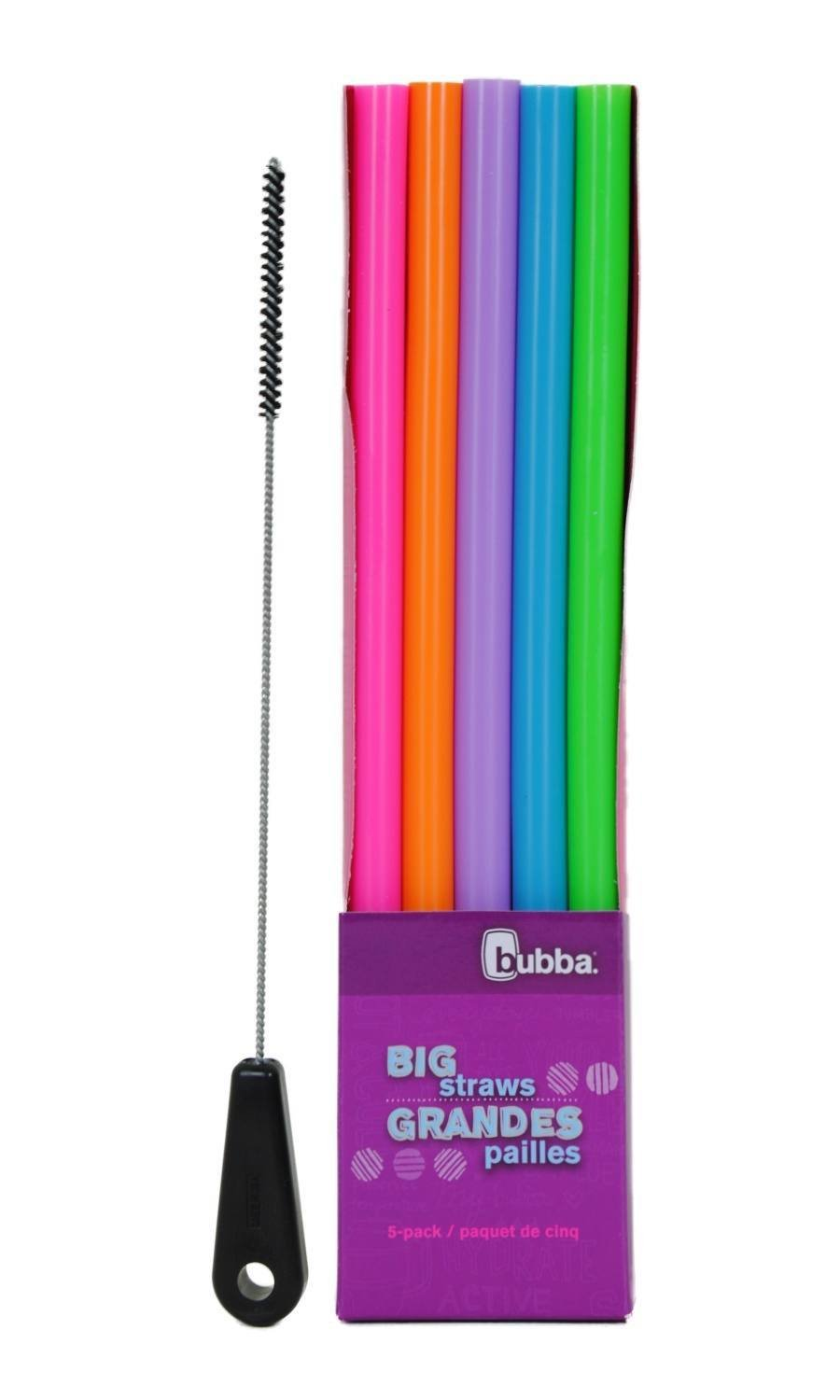 Bubba Big Straw 5 Pack Assorted Classic Colors with Brushtech Big Straw Cleaning Brush Set