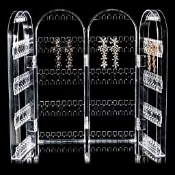 Four Sides Acrylic Folded Display Stand Holder Ear Studs Earring Jewelry by 24/7 store