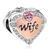 SexyMandala Love Heart Wife Rose Gold Charm Clear CZ Beads European Bracelets (Pink) (Color: Pink)