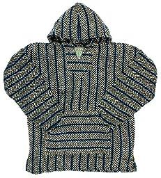 Baja Joe Striped Woven Eco-Friendly Hoodie (Sea Blue, Medium)