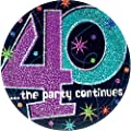 Amscan BB103462 The Party Continues 40Th Birthday Dinner Plates