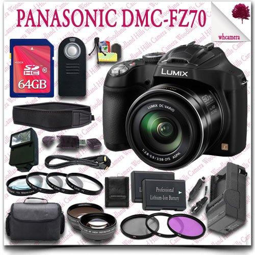 Panasonic Lumix Dmc-Fz70 Digital Camera + Wireless Remote + 64Gb Sdhc Class 10 Card + Slr Gadget Bag + Close Up Macro Set + Wide Angle Lens / Telephoto Lens + 3Pc Filter Kit + External Slave Flash + Neoprene Neck Strap + Hdmi Cable 24Pc Panasonic Saver Bu