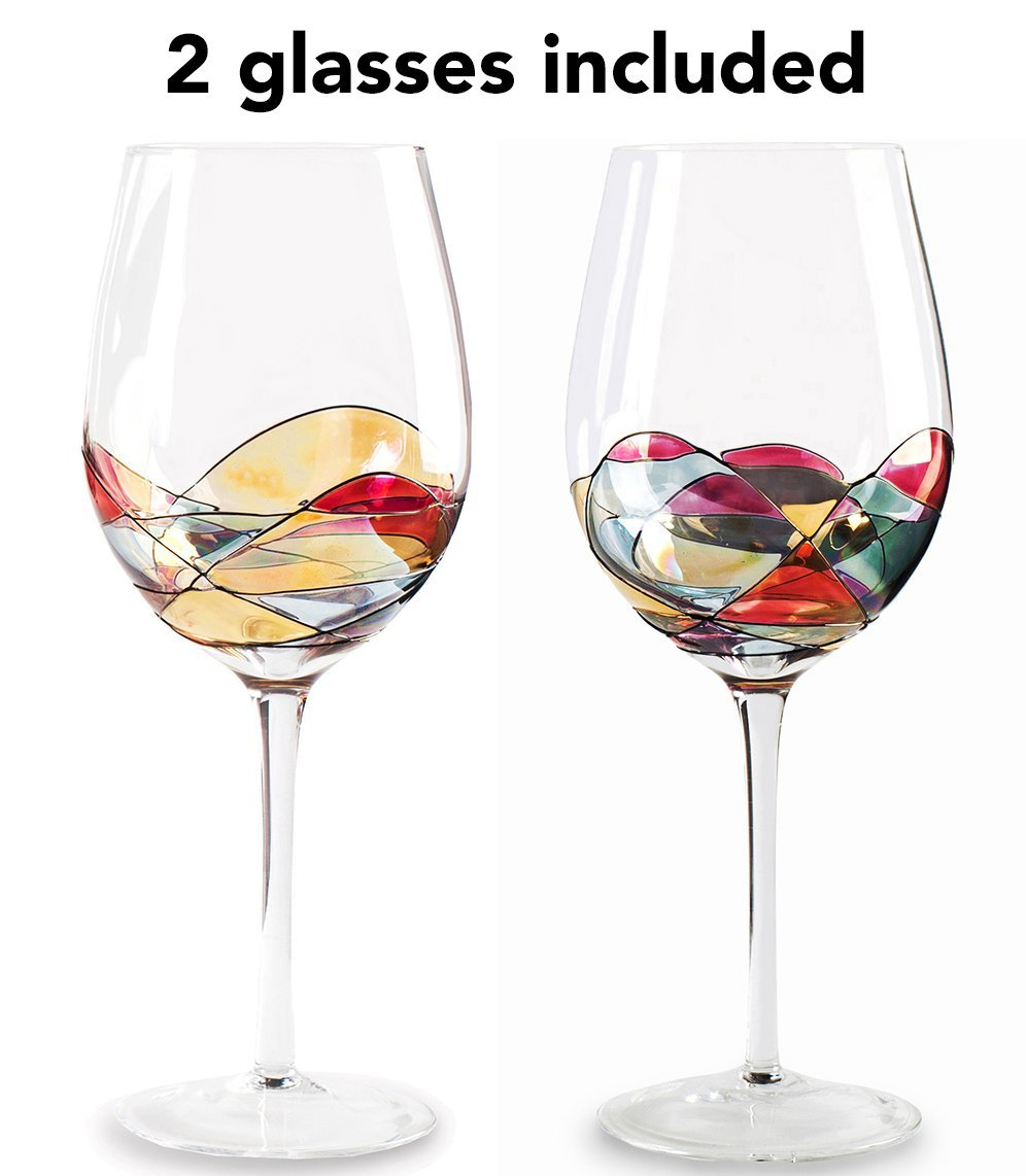 Beautiful Hand Painted Large Wine Glasses Set Of 2