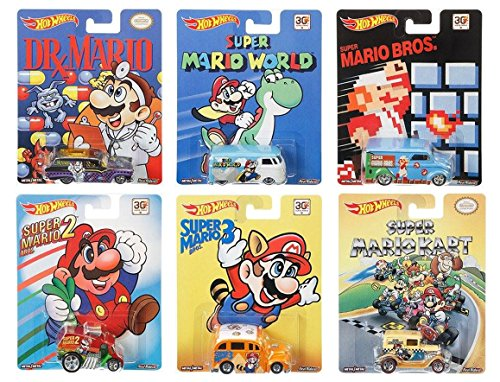 Hot Wheels Pop Culture Complete Set of 6: Super Mario Brothers (Super Mario Cars compare prices)