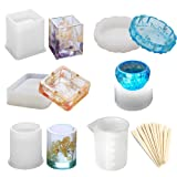 Epoxy Resin Silicone Molds, Large Art Resin Molds for Casting Coaster/Ashtray/Flower Pot/Pen Candle Soap Jewelry Holder - Includes Round, Square, Cylinder, Small Bowls with Mixing Cups & Wood Sticks (Color: Resin molds #2)