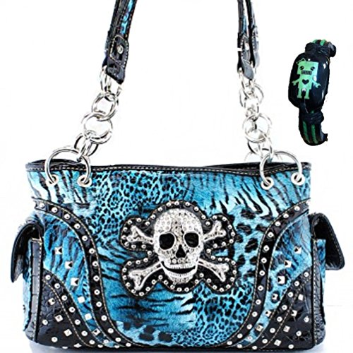 Concealed Carry Skull and Crossbones Western Handbag Animal Print Rhinestone Purse With Robot Bracelet