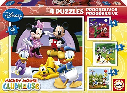 Educa 15288 La Casa de Mickey Mouse - Puzzle (4 unidades, 12, 16, 20 y 25 piezas)