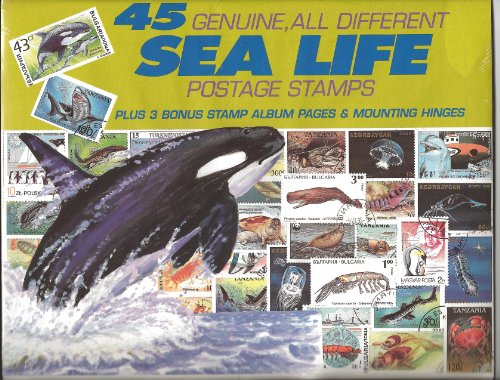 45 Genuine Postage Stamps Assortment - Sea LIfe - 1