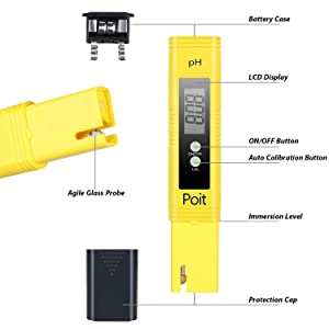 Poit Digital PH Meter Tester Kit, 0.01 Resolution, ATC Function, Auto Calibration (Color: Yellow)