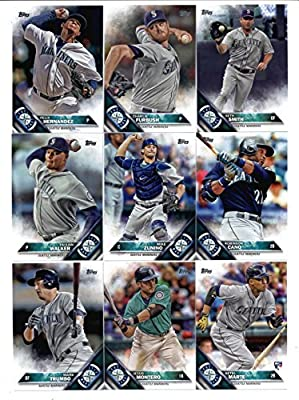 2016 Topps Baseball Series 1 Seattle Mariners Team Set of 14 Cards: Kyle Seager(#5), Nelson Cruz(#10), John Hicks(#22), Mark Trumbo(#39), Jesus Montero(#55), Ketel Marte(#73), Seattle Mariners(#79), Carson Smith(#80), Taijuan Walker(#99), Mike Zunino(#210