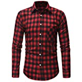 Gocheaper Men's Plaid Blouse Autumn Button Shirt Long Sleeved Pullover Fastener Sweatshirts Top (M, Red) (Color: Red, Tamaño: Medium)