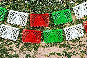 "Medium PLASTIC Virgin Mary / Virgen de Guadalupe Papel Picado ""NUESTRA SEÑORA"" - 16 Foot Long Banner (12 Panels) - Designs and Colors as Pictured By Paper Full of Wishes from Paper Full of Wishes"
