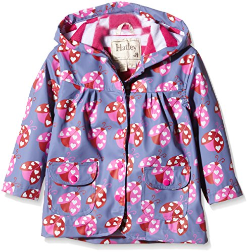 Hatley Big Girls Ladybug Garden Raincoat, Blue, 8