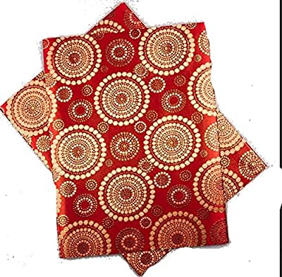 "1pcs Golden Embroidered Pure Red African Fabric Solid African Fabric Sego Gele for Headtie, Head Gear, Men's Hat. 2.5 Yards By 18"" ..."