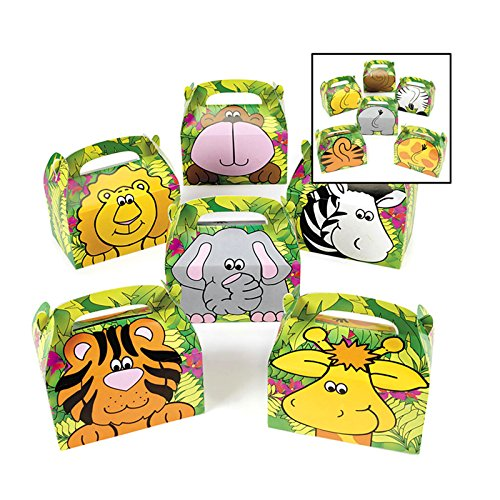 Adorox Zoo Animal Cardboard Treat Box Children Birthday Party Goody Bags (Assorted (12 Animal Boxes)) - 1