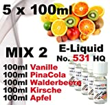 5 x 100 ml E-Liquid - No. 531 HQ - MIX 2 - Vanille PinaCola Wald-Erdbeere Kirsche Apfel - 0,0mg Nikotin - MADE in GERMANY
