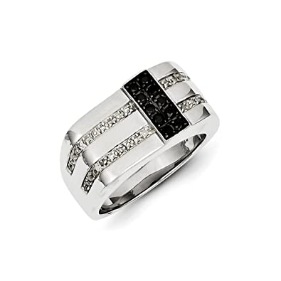 Black Bow Jewellery Company : 1/2 Ctw White & Black Diamond Flat Top 11mm Band in Sterling Silver