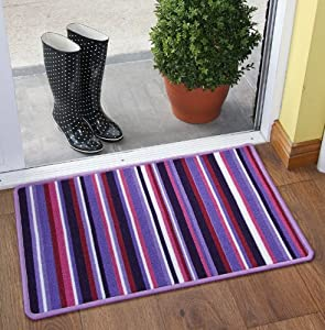 Purple Stripe Durable Easy Clean Machine Washable Multi Purpose Rug Luna - 8 sizes available from The Rug House