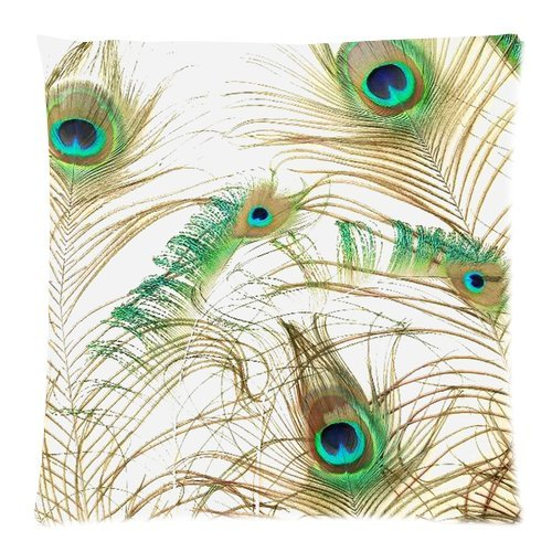 """Elegant Peacock Feathers Print Custom Zippered Pillow Cushion Case Throw Pillow Covers 20""""X20""""(Two Sides) front-973134"""