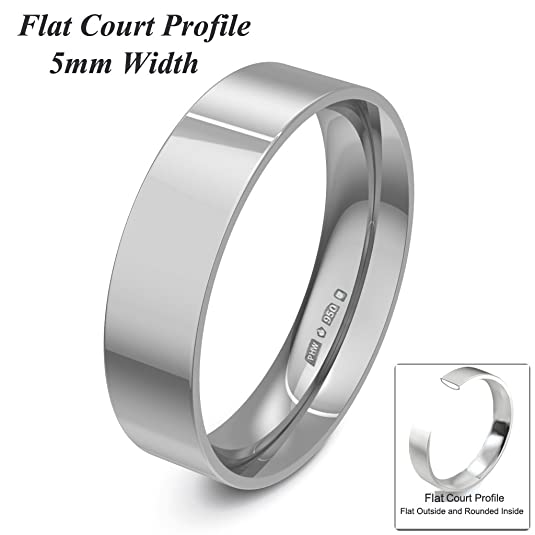 Xzara Jewellery - Palladium 950 5mm Flat Court Profile Hallmarked Ladies/Gents 3.5 Grams Wedding Ring Band