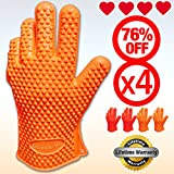♛ FOUR GLOVES - SUPERIOR Silicone BBQ Gloves ★ Buy 2 get 2 EXTRA for FREE ♛ Extreme Water and Heat Resistant Cooking Gloves, Grill Gloves, Potholders ★ Directly Handle Hot Food, Use As Grilling Gloves, Oven Gloves In The Kitchen Or At The Campsite! ★ Protect Your Hands from Accidents with Insulated Waterproof Five-Fingered Grip ★ Superior Protection, Better Than Oven Mitts ★ FREE Premium Lifetime Guarantee!