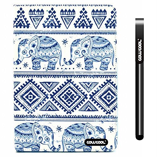 Cowcool® Ipad Air2 Case, Pu Leather Wallet Stand Case For Apple Ipad Air2 [Ipad 6] Blue And White Porcelain Geometry With Elephant Stand Kickstand Hand Stitching Protective Cover (Style1)